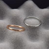尾戒指女潮人玫瑰金小指日韩钛钢光面简约戒指饰品