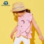【25日0点开抢 2件3折价:42】迷你巴拉巴拉女童儿童短袖衬衫新款时尚荷叶边韩版短袖衬衫