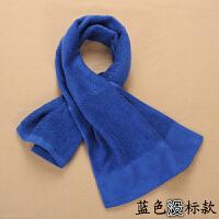 洗浴运动毛巾纯棉吸水健身房跑步吸汗加长款毛巾定制logo绣字 深蓝色 不带 标的 30x110cm