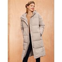【3折到手价:408】【满399减80】面包羽绒服女士冬季新款韩版宽松鹅绒羽绒过膝连帽中长外套
