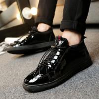 DAZED CONFUSED2017春季高帮男鞋潮鞋韩版漆皮鞋潮男亮面板鞋镜面青年黑色懒人