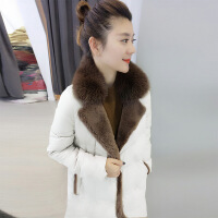 毛领直筒修身中长款羽绒服女2018欧洲秋冬装新款欧货站潮女装
