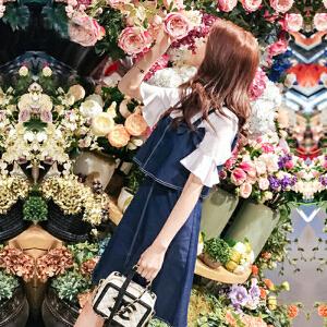 哆哆何伊两件套牛仔连衣裙夏季2018春装新款女装甜美背带短袖裙子韩版套装