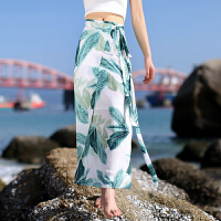 小清新海边度假沙滩裙夏雪纺印花不规则修身开叉飘逸半身裙 绿色 均码