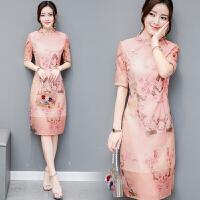 改良旗袍连衣裙文艺范民族风夏季短袖少女粉色裙子显瘦中长款