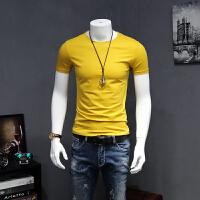 男士短袖T恤夏季新款丝光修身半袖体恤半截袖社会纯色圆领打底衫小衫