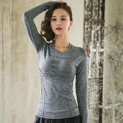 瑜伽服女透气速干弹力健身服长袖显瘦跑步运动上衣