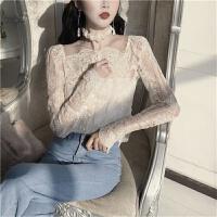 初春韩版 内搭吊带背心上衣露肩长袖单排扣透视蕾丝衫两件套女 杏色 均码