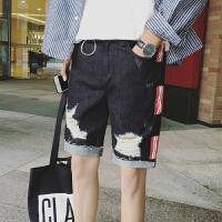 夏装港风休闲短裤男士2018夏季新款牛仔中裤韩版潮流时尚五分裤男