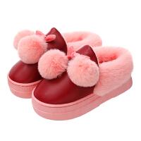 秋冬季棉拖鞋包跟女居家室内外PU皮防水保暖防滑厚底高跟棉鞋冬天