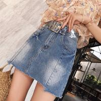 牛仔半身裙女2018夏装新款韩版高腰港味设计感短款裙子潮