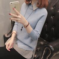 女士毛衣女短款打底衫两件套女装春装韩版2018新款女秋时尚百搭潮