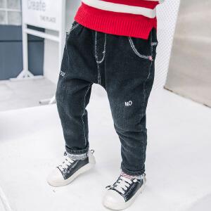 【尾品汇 129元3件】帕丁猫童装2018秋季新款男童韩版休闲潮流牛仔裤