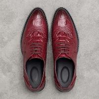 CUM 夏季男士鳄鱼纹尖头皮鞋发型师潮青年休闲鞋增高英伦鞋子