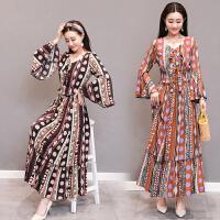 2018春装新款 民族风女装复古波西米亚沙滩长裙套装裙两件套长裙