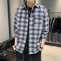 新款格子衬衫宽松潮牌学生长袖休闲衬衣青少年男装外套寸衫