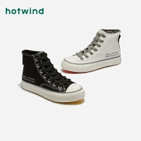 热风潮流时尚女士系带休闲帆布鞋青年高帮鞋H14W9307