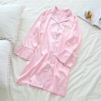 韩版甜美睡裙长袖仿字母可爱开衫睡衣女夏秋季闺蜜装家居服