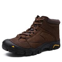 DAZED CONFUSED秋冬季系带防滑中年男士爸爸登山鞋休闲皮鞋磨砂牛皮中帮户外鞋子男