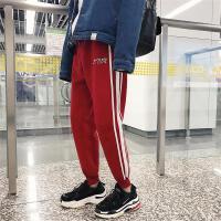 冬季裤子男士休闲裤条纹修身运动裤韩版潮长裤小脚裤