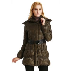 yaloo/雅鹿保暖堆堆领连帽冬装外套 时尚修身显瘦中长款羽绒服女