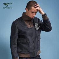 【1.15-1.20到手价:299.7】七匹狼旗下圣沃斯系列夹克 秋季立领羊毛混纺单夹克男士外套