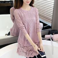 2018春装新款韩版修身蕾丝拼接薄针织衫假两件套头毛衣女打底衫