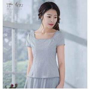烟花烫尔叙 短袖女2018夏装新款t恤收腰显瘦简约套头衬衫 画像