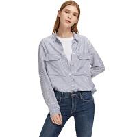 【网易严选 1件3折】女式条纹贴袋衬衫