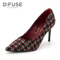 迪芙斯(D:FUSE)女鞋 秋季编织布面格子尖头高跟单鞋 DF83111689