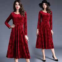 秋冬欧美新款中年时尚女装修身长袖V领中长款大摆丝绒连衣裙