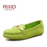 奥康RIIID舒适平跟豆豆鞋 真皮浅口休闲单鞋春季新款韩版潮