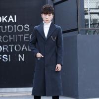 冬季加厚羊毛呢大衣男士修身中长款呢子风衣青年时尚过膝妮料外套