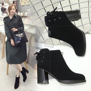 ZHR2017秋冬新款韩版流苏靴短靴高跟女靴子粗跟切尔西靴复古单靴F36