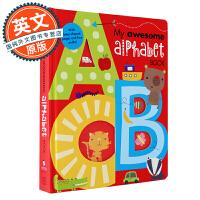 我的尖叫字母书 英文原版 My Awesome Counting Alphabet Book 儿童启蒙26个字母单词纸