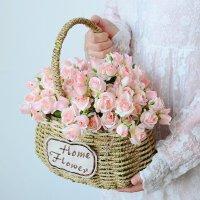 小清新玫瑰花假花仿真花艺客厅家居干花草编花篮套装饰品摆件