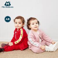 【8.19日2件3折价:80.7】迷你巴拉巴拉男女宝宝长袖套装婴儿宽松衣服2019春新款印花两件套
