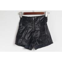 L01070秋季新款韩版半松紧高腰显瘦好搭配女纯色PU皮短裤靴裤