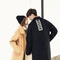 2018潮流情侣外套韩版男女时尚宽松秋冬新款风衣宽松中长款呢子大