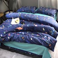床上用品四件套全棉纯棉加厚床单磨毛被套1.8m2.0米双人简约冬1.5