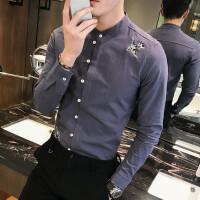 2017年春季刺绣花衬衫男长袖复古修身棉麻男士衬衣英伦青年寸衫潮