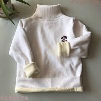 儿童高领毛衣男童加绒加厚秋冬保暖女童白色黑色套头打底线衫 白色188 高领加绒