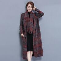 针织衫女开衫中长款秋冬韩版宽松外搭新款秋装毛衣外套加厚冬