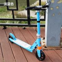儿童两轮滑板车二轮带手刹减震可折叠青少年2轮小孩男女初学 浅蓝色 手刹款