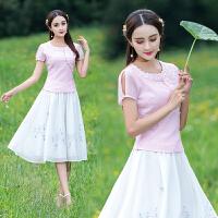 原创T恤中国风女装上衣高档玻璃纱欧根纱绣花圆领撞花边显瘦衬衫