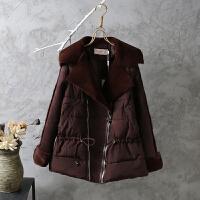 鹿皮绒棉衣女冬装中长款冬季加厚韩版收腰羊羔毛修身外套