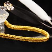 菜百首饰黄金项链方形肖邦链简约锁骨链足金项链