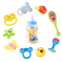 力辉玩具 新款9件套婴儿益智奶瓶摇铃 宝宝早教牙胶手摇铃 儿童玩具