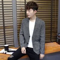 男士针织衫秋季薄款韩版青年修身圆领开衫外套春秋季毛衣