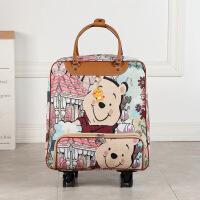 拉杆旅行包女手提包韩版短途轻便大容量行李包女旅游包登机拉杆包 小熊 万向轮